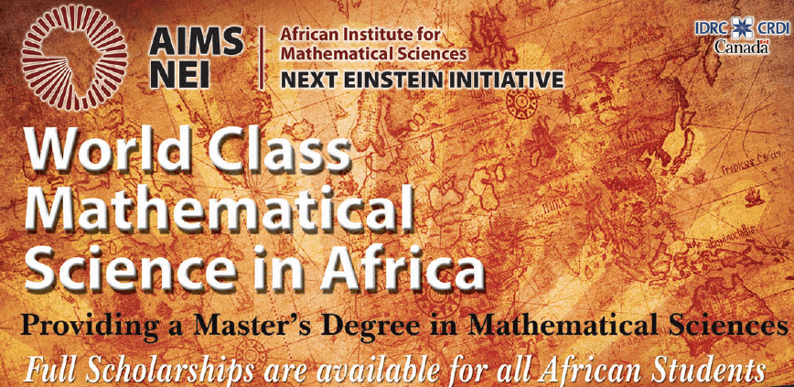 African Institute of Mathematical Sciences (AIMS) Co-operative Master's Program 2018/2019 Scholarships (Fully Funded)