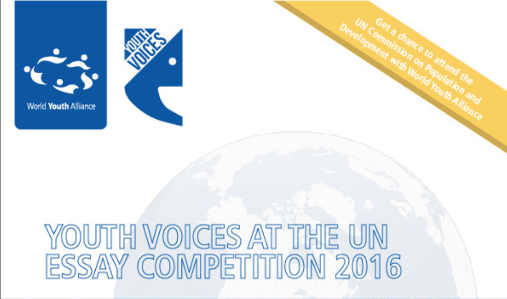 world youth alliance youth voices at the united nations essay   voices at the united nations essay competition 2016 win a spot on wya s delegation to the commission on population and development at the un in 2016
