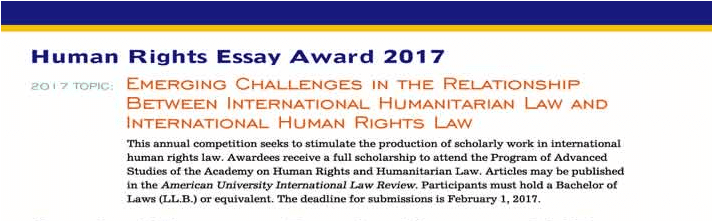 human rights essay award for scholarly work in international  human rights essay award 2017 for scholarly work in international human rights law opportunities for africans