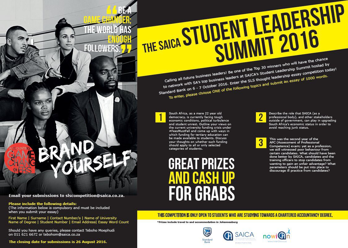south african institute of chartered accountants saica student  south african institute of chartered accountants saica student leadership summit essay competition 2016 opportunities for africans