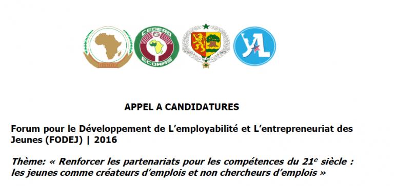 Forum Pour le Développent de l'Employabilité et l'Entrepreneuriat des Jeunes (FODEJ) 2016
