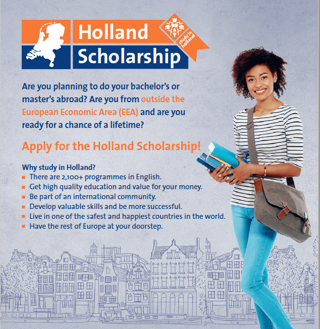 Holland Scholarships 2018/2019 for Bachelor's or Masters Study in the Netherlands (5,000 Euros)