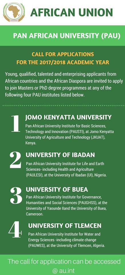 Call for Applications: Pan African (African Union) University 2017