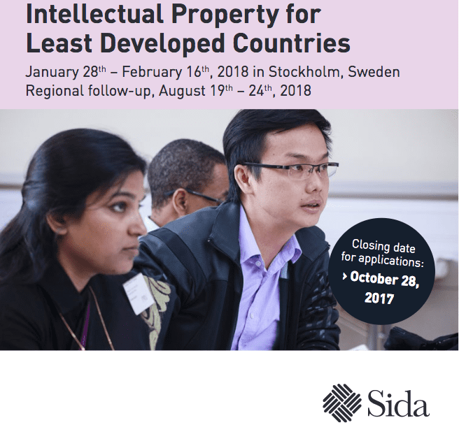 SIDA 2018 International Training Programme on Intellectual Property