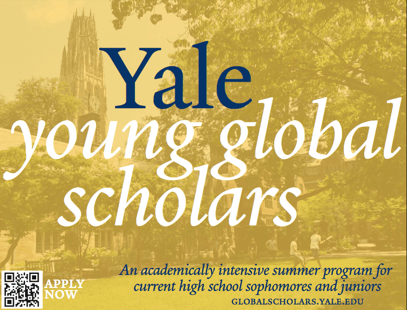 Yale Young Global Scholars Program 2018 for Outstanding High