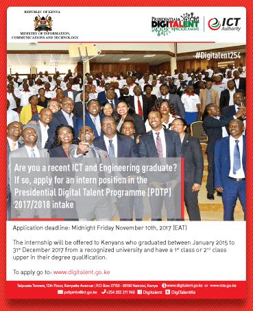 Kenya Government Presidential Digital Talent Programme 2017/2018 (ICT Program for Kenyan Graduates) 1