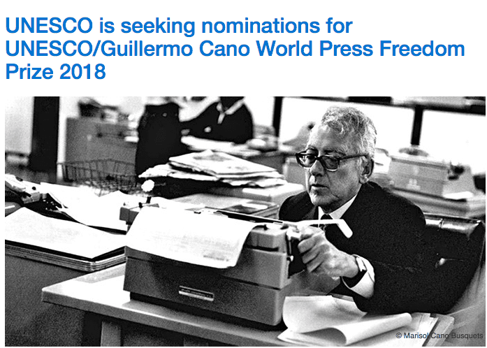 UNESCO/Guillermo Cano World Press Freedom Prize 2018