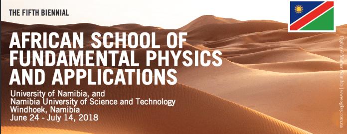 ستُعقد النسخة 5th من المدرسة الإفريقية للفيزياء والتطبيقات الأساسية كل سنتين ، ASP2018 ، في يونيو 24 - يوليو 14 و 2018 في ناميبيا.