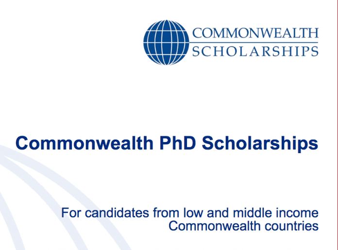 Coomonwealth PhD Scholarships 2018/2019