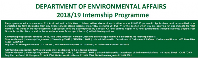 Department of Environmental Affairs (DEA) 2018/2019 Internship Programme