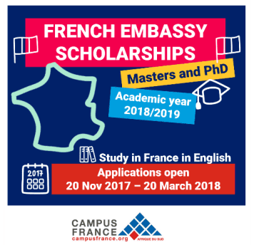 French Embassy Master and PhD scholarship program 2018/2019