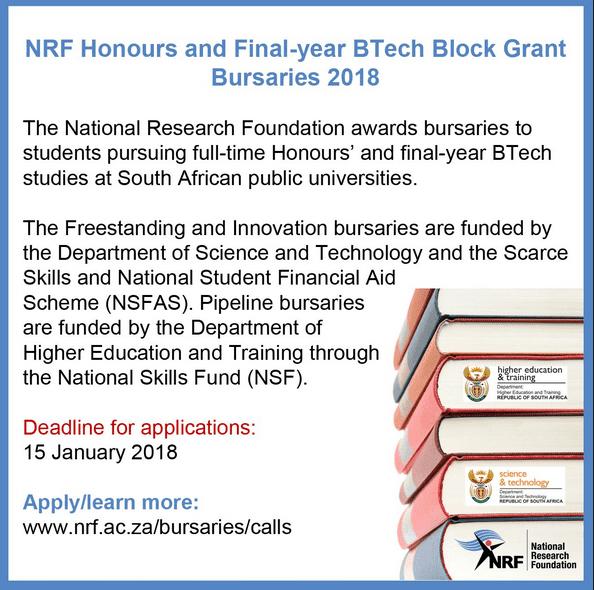 NRF Honores y B-Tech Block Grant Becas del último año Llame a 2018