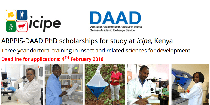 ARPPIS-DAAD PhD Scholarships 2018 for study at the International Centre of Insect Physiology and Ecology (icipe),Kenya