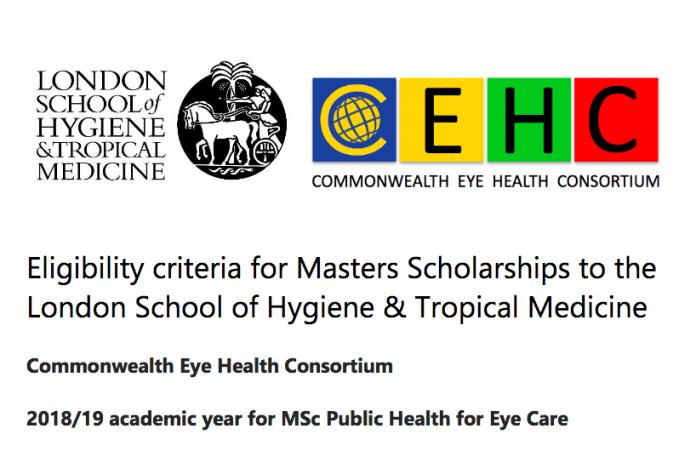Bourses d'études du Consortium pour la santé oculaire du Commonwealth (CEHC) 2018 / 19 pour MSc en santé publique pour les soins oculaires