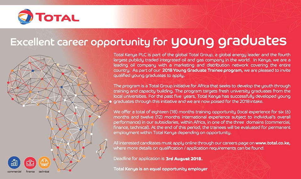 Total Kenya Graduate Trainee Program 2018 for young graduates