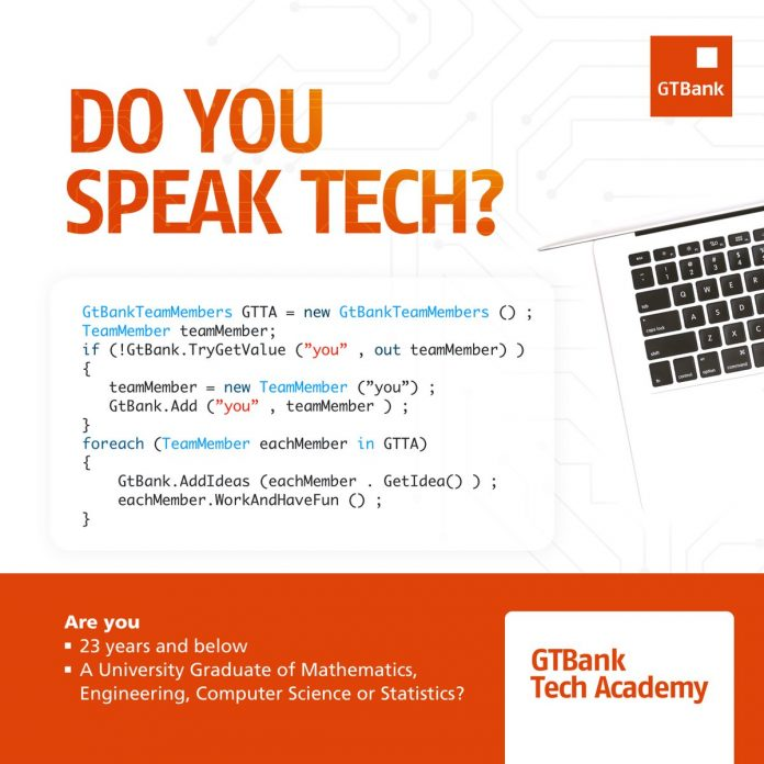 guaranty trust bank gtb tech academy programme 2018 for young