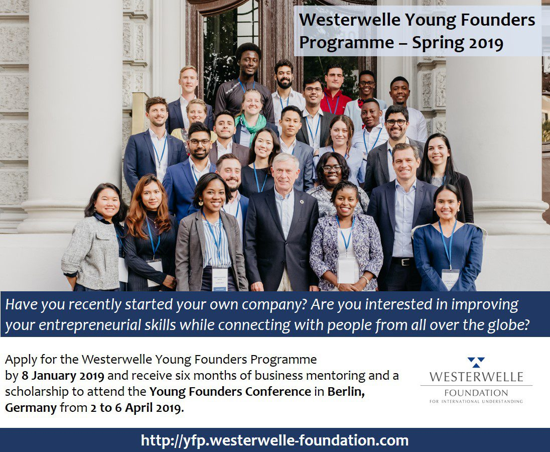 Westerwelle Young Founders Programme Spring 2019 for Young