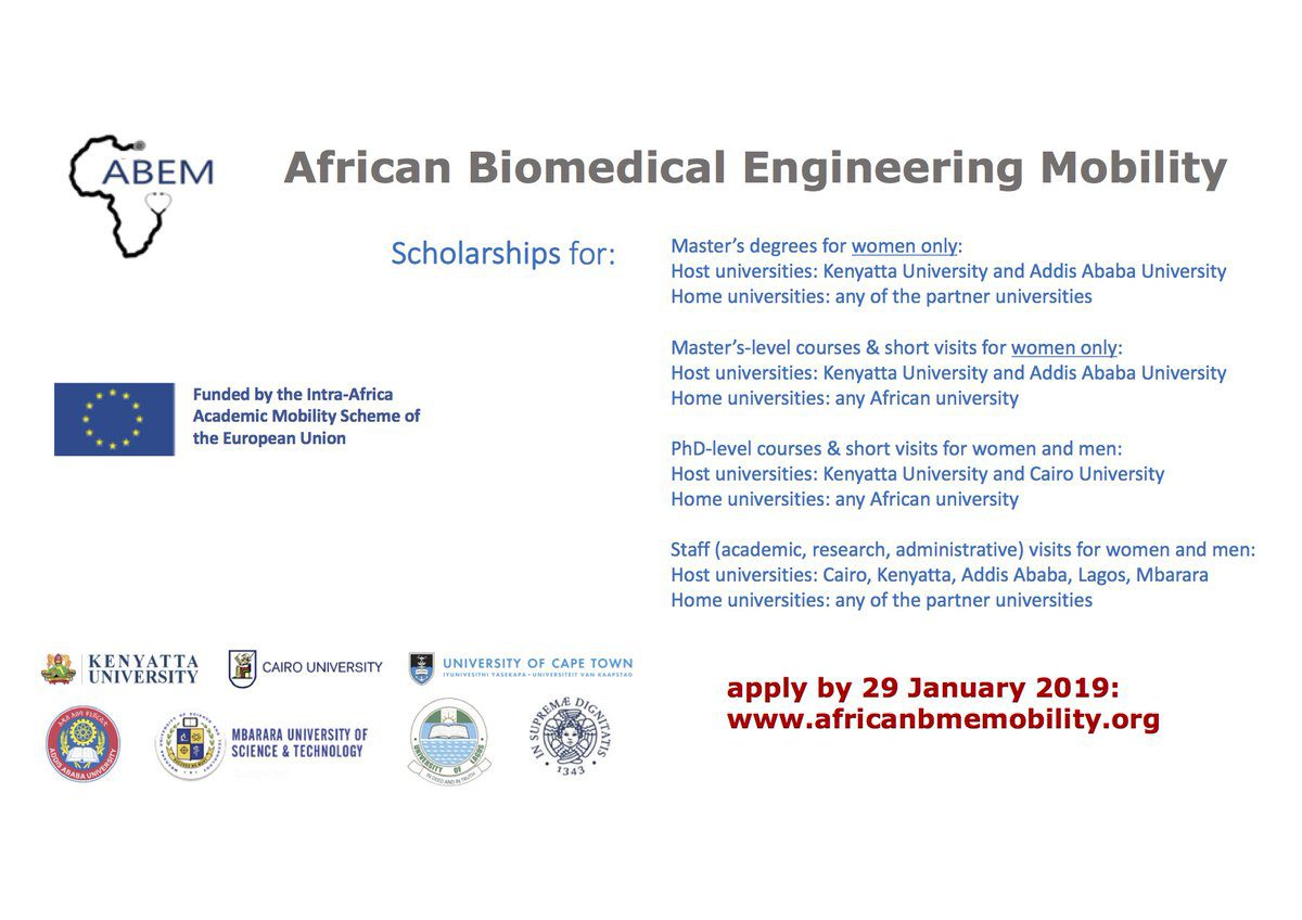 African Biomedical Engineering Mobility (ABEM) Scholarships 2019