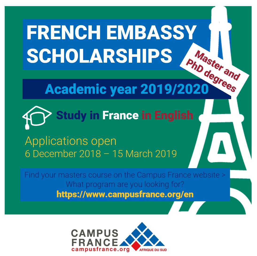 French Embassy Master and PhD scholarship program 2019/2020 for young South Africans to study in France (Fully Funded)