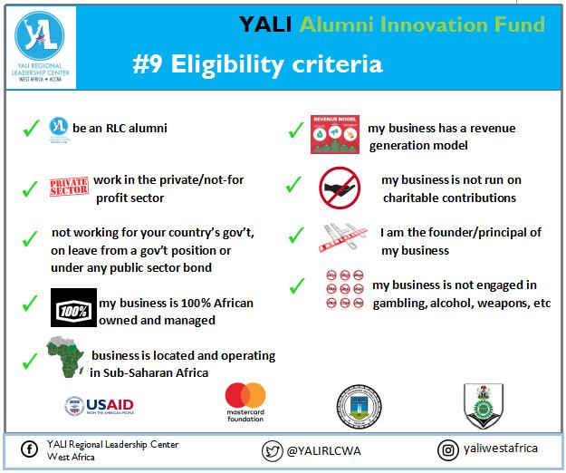 YALI West Africa Alumni Innovation Fund (YAIF) 2019 for emerging