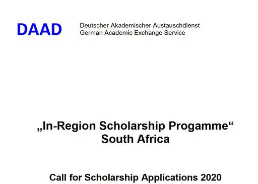 DAAD 2020 In Region Scholarships Programme In South Africa