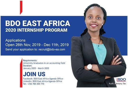 Graduate Internships Summer 2020.Bdo East Africa Internship Program 2020 For Accounting