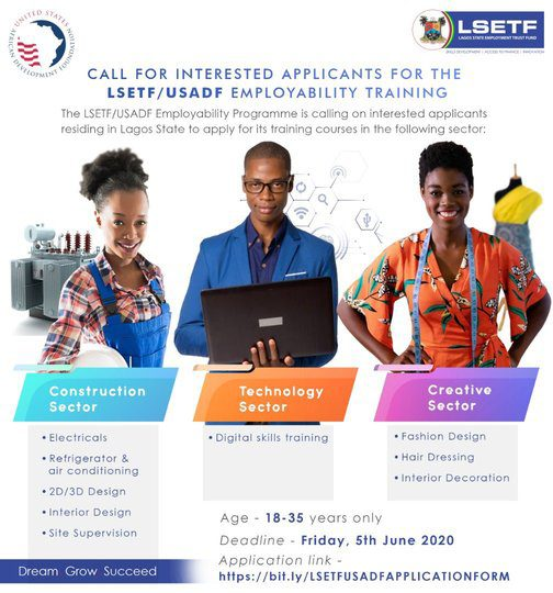 Lsetf Usadf Employability Training Programme 2020 For Lagos State Youths Opportunities For Africans