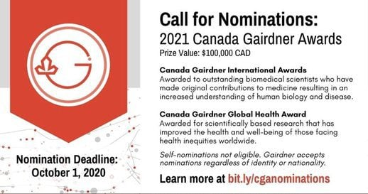 The Canada Gairdner International Award 2021 for outstanding Researchers ( $100,000 CDN Prize)