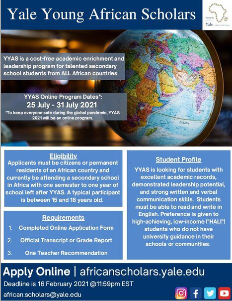 Yale Young African Scholars Program 2021 for African secondary school Students