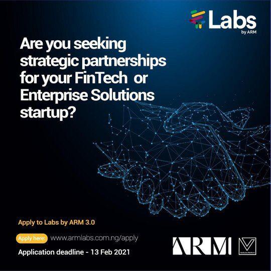 Labs by ARM 3.0 FinTech-Focused Accelerator Program for post-MVP FinTech startups ( 20k – 50k USD in funding)