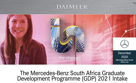 Mercedes-Benz South Africa Graduate Development Programme (GDP) 2021 for young South Africans