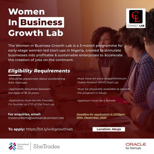 Women In Business Growth Lab 2021 for early-stage women-led startups ($1500 equity-free grant)