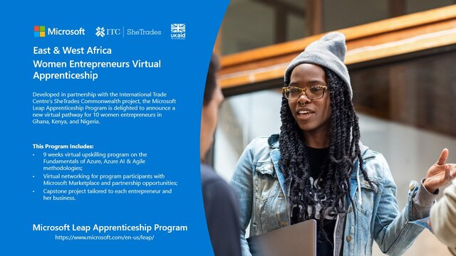 Microsoft East & West Africa Women Entrepreneurs Virtual Apprenticeship Programme 2021