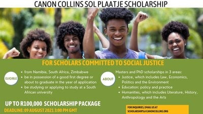 canon-collins-sol-plaatje-scholarships-2021-2022